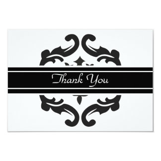 Thank You Notelets in Stylish Black & White Damask Card