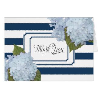 Thank You Notes Blue Hydrangea Floral Navy Striped
