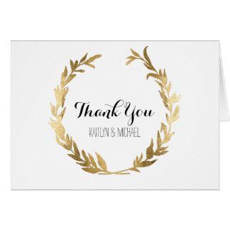 Thank You Notes Laurel Wreath Gold Leaf Wedding