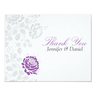 Thank You Notes Lavender and Gray Damask Card