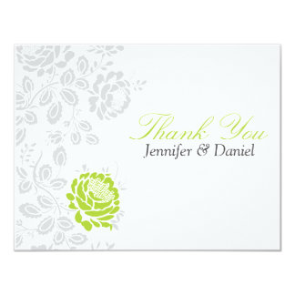 Thank You Notes Lime and Gray Damask Card