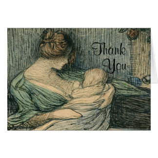 Thank You Notes Mother and Child By Rozentals Stationery Note Card