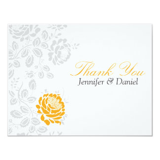 Thank You Notes Orange and Gray Damask Card