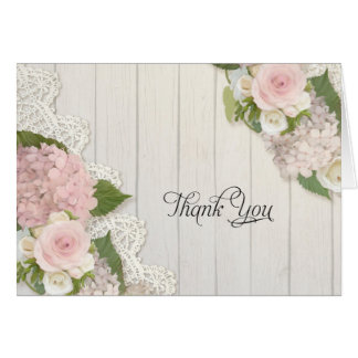 Thank You Notes Pink Hydrangeas Floral Lace Wood