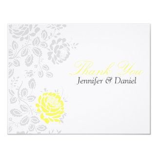 Thank You Notes Yellow and Gray Damask Card