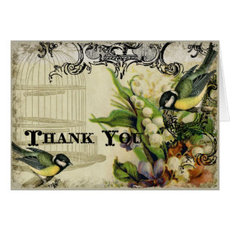 Thank You Notes - Yellow Song Bird Cage Floral