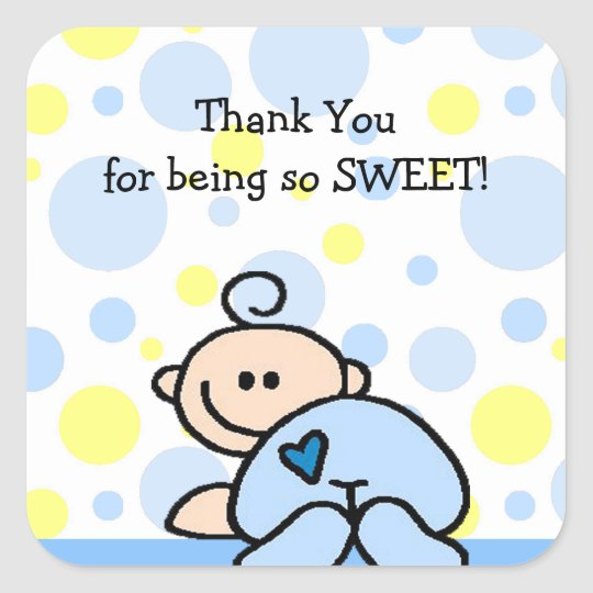Thank You OH BOY Baby Shower square sticker