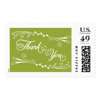 Thank You olive green postage stamp template