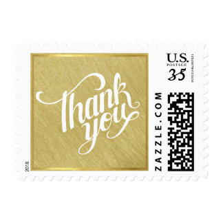 thank you on faux gold wedding postage