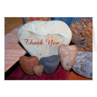 Thank You on Heart Shaped Rocks Card