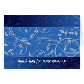 Thank you or any occasion Floral Blue and Bling Card