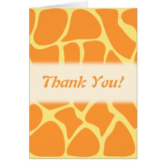 Thank You. Orange and Yellow Giraffe Pattern. Greeting Card