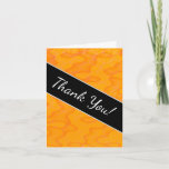"[ Thumbnail: ""Thank You!"" + Orange Blob Or Splotch Pattern Card ]"