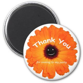 Thank You Orange Flower 2 Inch Round Magnet