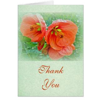 Thank You Orange Hibiscus Flowers Card