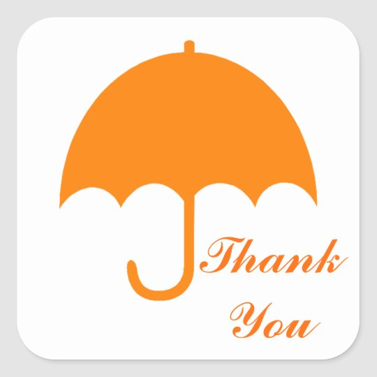 """Thank You"" - Orange Umbrella Square Sticker"