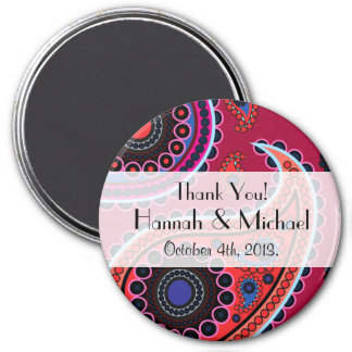 Thank You - Oriental Persian Paisley, Dots - Red 3 Inch Round Magnet