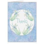Thank You Original Watercolor Dragonfly in Blue Stationery Note Card