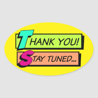 Thank You Oval Label, Multicolor Comic Style Oval Sticker
