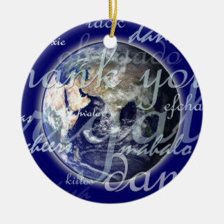 Thank you over earth in different languages ceramic ornament