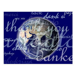 Thank you over earth in different languages postcard