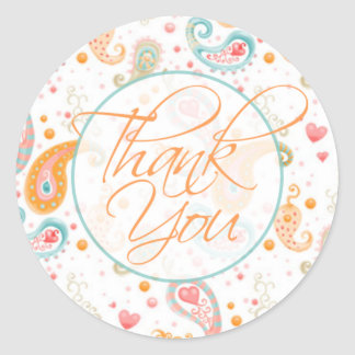 Thank You Paisley Classic Round Sticker