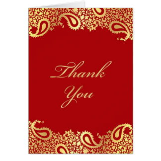 Thank You Paisleys Elegant Indian Folded Card