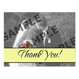 Thank You - Pale Yellow Postcard