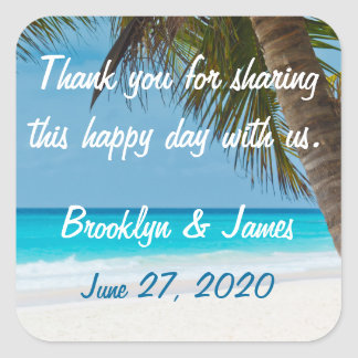 Thank You Palm Trees On Beach Wedding Stickers