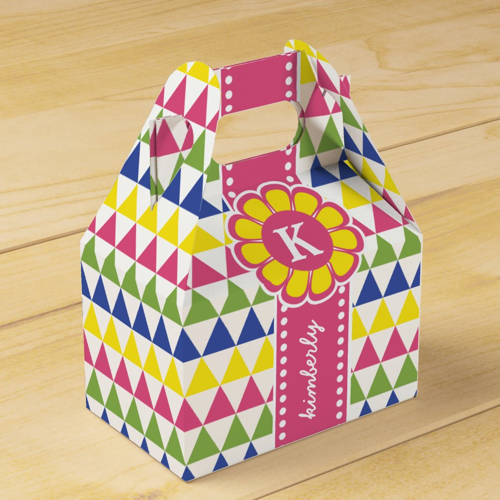 Thank You Party Favor Colorful Pyramid Monogram Ri