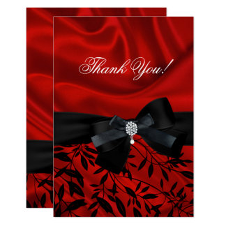 Thank You Party Red Damask Black White Card