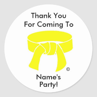 Thank You Party Sticker Martial Arts yellow custom