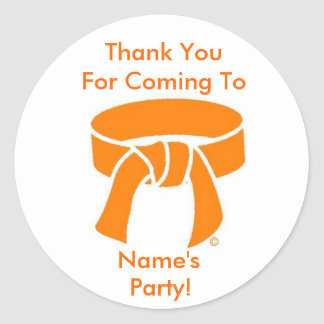 Thank You Party Stickers, Martial Arts Orange Belt Classic Round Sticker