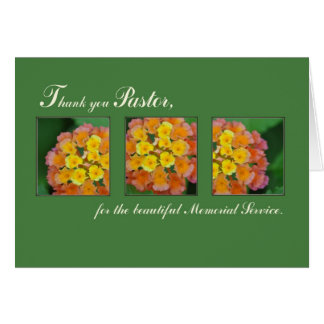 Thank You Pastor, Memorial Funeral Service, Flower Greeting Cards