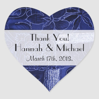 Thank You - Patchwork, Flowers, Swirls - Blue Heart Sticker
