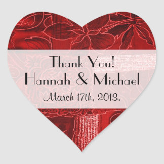 Thank You - Patchwork, Flowers, Swirls - Red Heart Sticker
