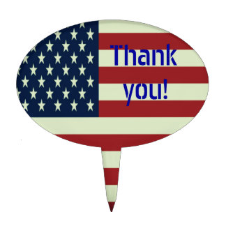 Thank You! Patriotic Cake Topper