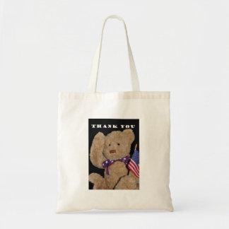 Thank You Patriotic Teddy Bear Canvas Bag