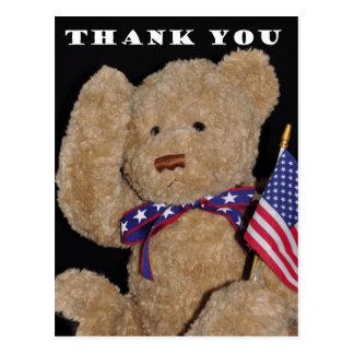 Thank You Patriotic Teddy Bear Postcard
