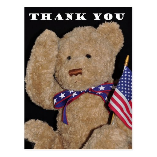Thank You Patriotic Teddy Bear Postcards