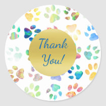 thank you paw prints classic round sticker