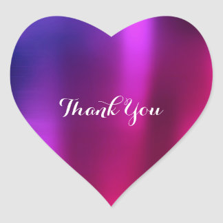 Thank You Pearly Purple Pink Lavender Metallic Red Heart Sticker