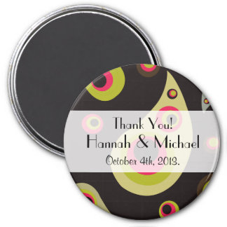 Thank You - Persian Paisley, Dots - Green Pink 3 Inch Round Magnet