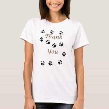 Thank You Pet Sitter Black Paw Prints Pattern T-Shirt