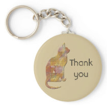Thank You Pet Sitter Patchwork Country Cat Keychain