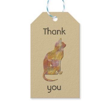 Thank You Pet Sitter Patchwork Quilt Style Cat Gift Tags