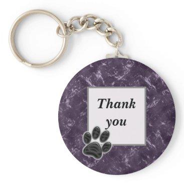 Thank You Pet Sitter Paw Print Deep Purple Keychain