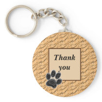 Thank You Pet Sitter Paw Print Light Brown Keychain