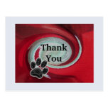 Thank You Pet Sitter Red Swirl Animal Paw Print Postcard