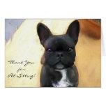 Thank You petsitter Black French Bulldog card